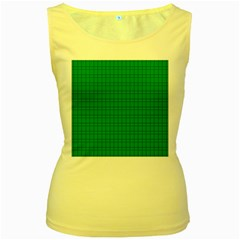 Pattern Green Background Lines Women s Yellow Tank Top