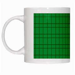 Pattern Green Background Lines White Mugs