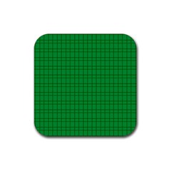 Pattern Green Background Lines Rubber Square Coaster (4 Pack)