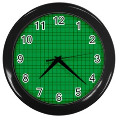 Pattern Green Background Lines Wall Clocks (Black)
