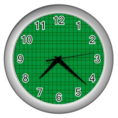 Pattern Green Background Lines Wall Clocks (Silver)