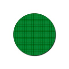 Pattern Green Background Lines Rubber Round Coaster (4 pack)