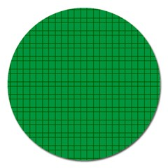 Pattern Green Background Lines Magnet 5  (Round)