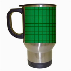 Pattern Green Background Lines Travel Mugs (White)