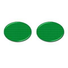 Pattern Green Background Lines Cufflinks (Oval)