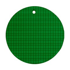 Pattern Green Background Lines Round Ornament (Two Sides)