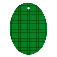 Pattern Green Background Lines Oval Ornament (Two Sides)