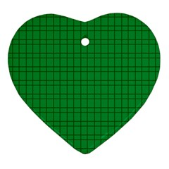 Pattern Green Background Lines Heart Ornament (Two Sides)