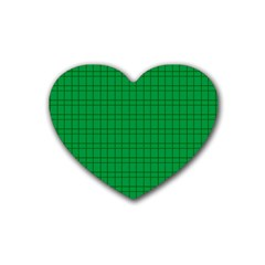 Pattern Green Background Lines Rubber Coaster (Heart)