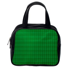 Pattern Green Background Lines Classic Handbags (One Side)