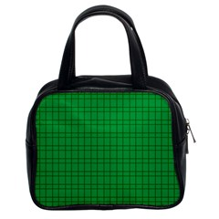 Pattern Green Background Lines Classic Handbags (2 Sides) by Nexatart