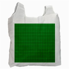 Pattern Green Background Lines Recycle Bag (One Side)