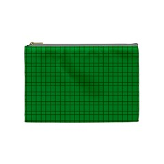 Pattern Green Background Lines Cosmetic Bag (medium)  by Nexatart