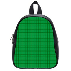 Pattern Green Background Lines School Bags (Small)