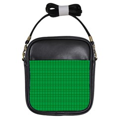 Pattern Green Background Lines Girls Sling Bags by Nexatart