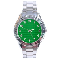 Pattern Green Background Lines Stainless Steel Analogue Watch