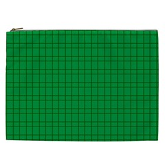 Pattern Green Background Lines Cosmetic Bag (XXL)