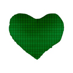 Pattern Green Background Lines Standard 16  Premium Heart Shape Cushions