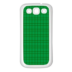 Pattern Green Background Lines Samsung Galaxy S3 Back Case (White)