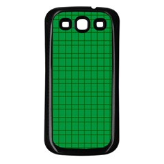 Pattern Green Background Lines Samsung Galaxy S3 Back Case (Black)