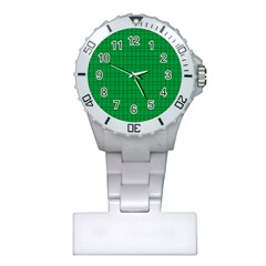 Pattern Green Background Lines Plastic Nurses Watch
