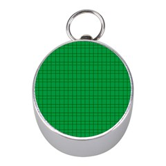 Pattern Green Background Lines Mini Silver Compasses