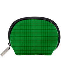 Pattern Green Background Lines Accessory Pouches (Small)