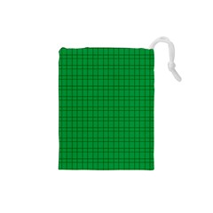 Pattern Green Background Lines Drawstring Pouches (Small)