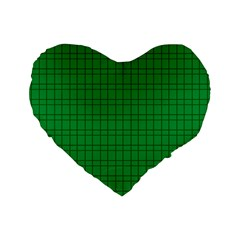 Pattern Green Background Lines Standard 16  Premium Flano Heart Shape Cushions