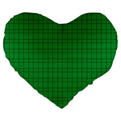 Pattern Green Background Lines Large 19  Premium Flano Heart Shape Cushions