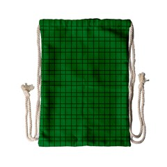 Pattern Green Background Lines Drawstring Bag (Small)