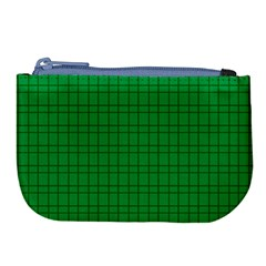 Pattern Green Background Lines Large Coin Purse