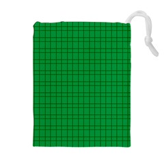 Pattern Green Background Lines Drawstring Pouches (Extra Large)