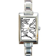 Decoration Pattern Design Flower Rectangle Italian Charm Watch by Nexatart