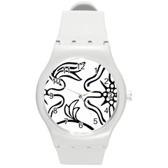 Decoration Pattern Design Flower Round Plastic Sport Watch (m)