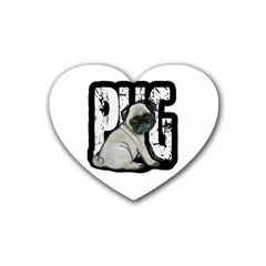 Pug Rubber Coaster (heart)  by Valentinaart