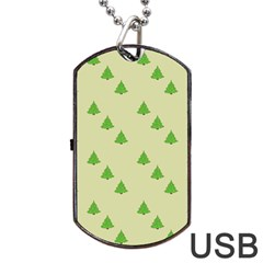Christmas Wrapping Paper Pattern Dog Tag Usb Flash (one Side) by Nexatart