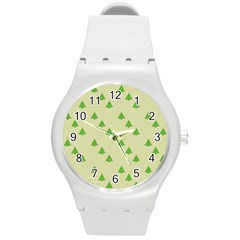 Christmas Wrapping Paper Pattern Round Plastic Sport Watch (m) by Nexatart