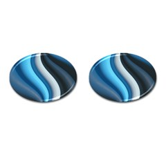 Abstract Pattern Lines Wave Cufflinks (oval) by Nexatart