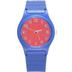 Pattern Diamonds Box Red Round Plastic Sport Watch (s) by Nexatart