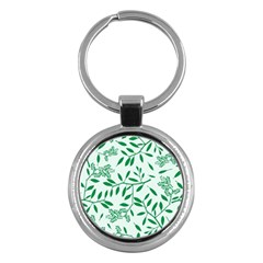 Leaves Foliage Green Wallpaper Key Chains (round)  by Nexatart