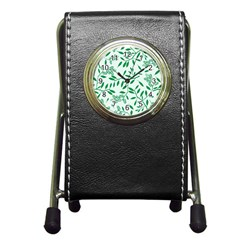 Leaves Foliage Green Wallpaper Pen Holder Desk Clocks by Nexatart