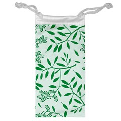 Leaves Foliage Green Wallpaper Jewelry Bag by Nexatart