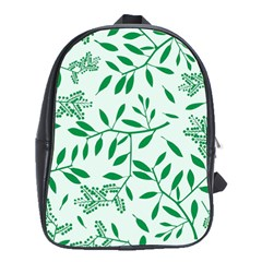 Leaves Foliage Green Wallpaper School Bags(large)  by Nexatart