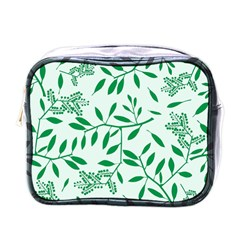 Leaves Foliage Green Wallpaper Mini Toiletries Bags by Nexatart