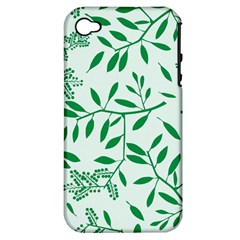 Leaves Foliage Green Wallpaper Apple Iphone 4/4s Hardshell Case (pc+silicone) by Nexatart