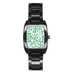 Leaves Foliage Green Wallpaper Stainless Steel Barrel Watch by Nexatart