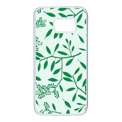 Leaves Foliage Green Wallpaper Samsung Galaxy S7 White Seamless Case by Nexatart