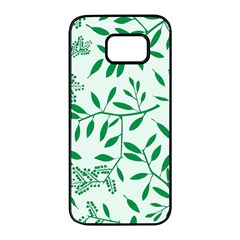 Leaves Foliage Green Wallpaper Samsung Galaxy S7 Edge Black Seamless Case