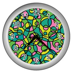 Circle Background Background Texture Wall Clocks (silver)  by Nexatart